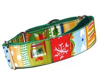 WHIMSICAL HOLIDAY, Martingale dog collar, Martingale Collar, Christmas Collar, Holiday Collar, Winter Martingale, Christmas Martingale