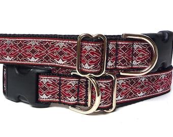 Dog collar, red wine burgundy, OLD ENGLISH collar, metallic dog collar, dog tag collar, buckle collar, house dog collar, metallic tag collar