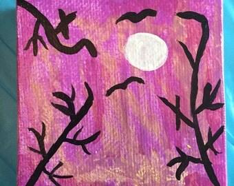 Batty Night Canvas Painting