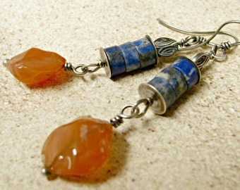 Tribal Earrings Lapis Earrings, Carnelian Earrings, Sterling Silver Earrings, Lapis lazuli Earrings, Lapis Jewelry, Orange And Blue Earrings