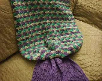Mermaid tail blanket-Adult size, Crochet Blanket, Handmade Blanket, Mermaid Tail Blanket