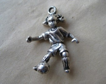 Girl Soccer Player Charm Sterling Silver Vintage 925