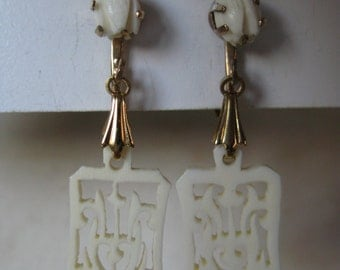 Pikake Flower Off White Earrings Clip Dangle Gold Vintage Hawaii Carved Filigree Wedding