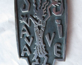 Java Jive Man Sterling Brooch Pin Vintage Silver 925 Coffee Bean Dangle