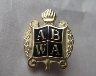 ABWA Pin Black Gold Brooch Vintage Enamel