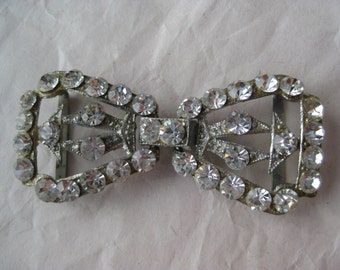 Bow Rhinestone Belt Buckle Silver Vintage Clear