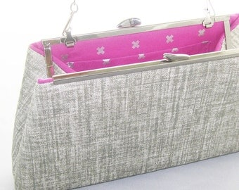 CLEARANCE - X Metallic Silver Clutch Purse with Chain - Neutral and Ready to ship - Made in the USA by UPSTYLE