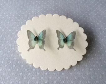 Tiny - Handmade Silk Organza Teal Swallowtail Butterfly Stud Earrings - One Pair