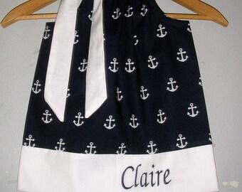 Dress Anchors SALE 10% off code it tiljan Navy white Monogrammed Anchors Pillowcase sizes 3, 6 9 12,18 months 2t,3t,4t,5t,6,7,8,10,12,14