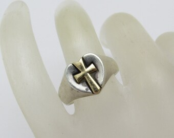 James Avery Heart Cross Ring 14K Gold Sterling Retired R7291
