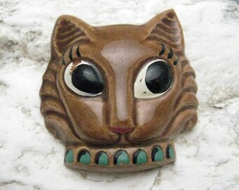Large Ceramic Cat Brooch Vintage Hand Painted Jewelry P7126