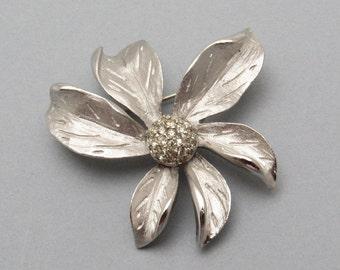 Vintage Flower Brooch Artistic Rhinestone Jewelry P7277