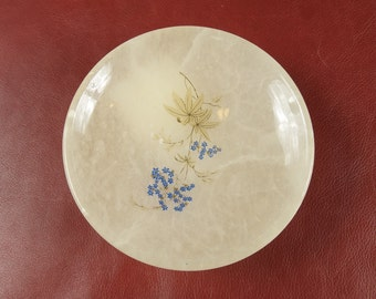 Beautiful Vintage Painted Alabaster Compote