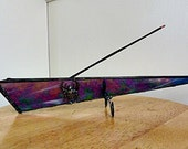 Stained Glass, Incense Burner, Stick Holder. Deep Iridesent Purple, Scarab Finding