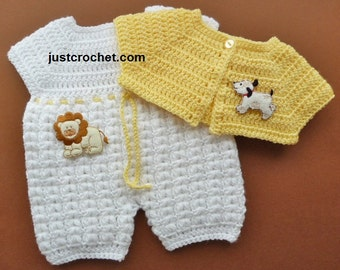 Bodysuit and Short Jacket Baby Crochet Pattern (DOWNLOAD) FJC80