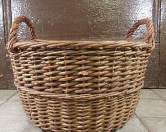 Large vintage woven stick basket with side handles- nice vintage condition, rustic, great for home decor