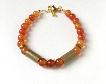Bracelet: Pumpkin Orange Agate Beads and Brass Tubes