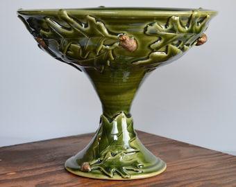 Pedestal bowl, oak acorn decor, ceramic bowl, fruit bowl, stoneware centerpiece, leaves,  handmade by hughes pottery