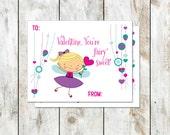 Fairy Sweet Valentines - Blonde Fairy Valentine - Class Valentine - Printable Valentine