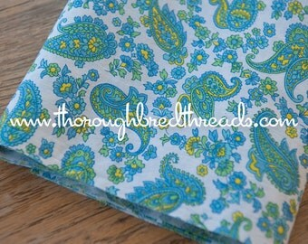Floral and Paisley - New Old Stock Vintage Fabric 50s 60s 35 in wide Turquoise Green Yellow