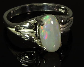 Natural Opal 1.29 ct Handset in .925 Sterling Ring  -  Fast Free Shipping.