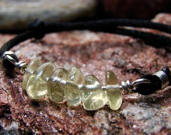 Unheated Citrine Crystal Bar Bracelet: Natural Healing Yellow Quartz, Handmade, Nickel Free, Silver, Hypoallergenic Jewelry, Men & Women