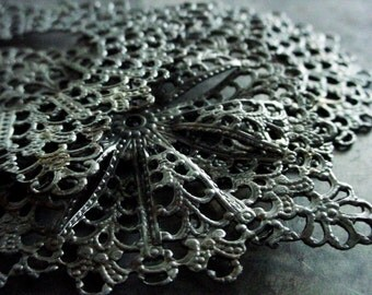 3pc Large Vintage Steel Lace Filigrees Over 50mm 2 1/8 Inch Square Round Dark Antique Silver Tone Color Jewelry Findings Arts Craft LOT S4A