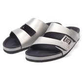 Alloy and Gray Two-Strap Sandal by Mohop - Vegan, Handmade in USA