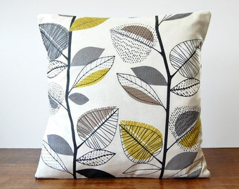 16 / 18 inch decorative pillow cover grey, light mustard, beige leaves, charcoal grey cushion cover