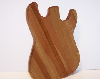 Guitar Wood Cutting Board Handcrafted from Mixed Hardwoods
