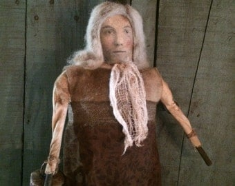 Primitive Olde Autum Witch with Olde Bell Doll