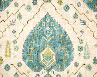 Aqua Turquoise Pillow Cover in Richloom Aubusson Aegean