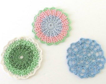 Hand Crocheted Pink, Blue and Green Doilies