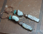 Aquamarine Apatite Kyanite Earrings ~ Blue Gemstone Earrings ~ Wire Wrapped Rough Nugget ~ Antiqued Copper Rustic Jewelry Long Raw Statement