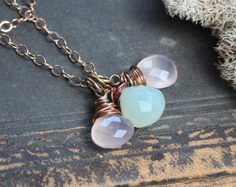 Gemstone Necklace Pink and Seafoam Green Chalcedony Wire Wrapped Briolette Stone Pendant