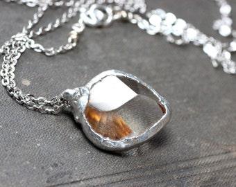 Quartz Heart Necklace Clear Quartz Gemstone Necklace Rustic Jewelry Silver Soldered Pendant
