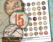 Postcard Handwriting Collage Sheet Bottle Cap Images 1in Circle Images for Pendants Bottle Caps Bezels Calico Collage Vintage Postage