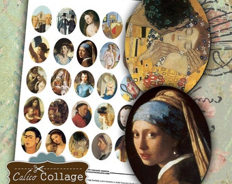 Classical Art Digital Collage Sheet 30x40mm Oval Images for Pendants Digital Images for Cameo Pendants Calico Collage Digital Printables