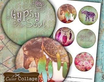 Pocket Mirror Digital Collage Sheet - Boho Collage Sheet - 2.5 inch circles Printable download images for pocket mirrors, paperweight