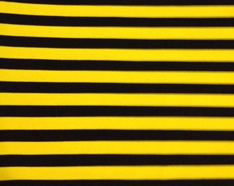 Yellow with black 1 yard knit small stripes lycra cotton new