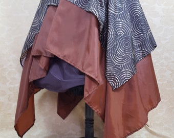 """Royale Double Layered Swirl Brown Pointed Fairy Pirate Skirt-To Fit 27-42"""" Waist"""