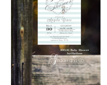 Mint Baby shower invitation printed invitation baby shower striped background bear invitation boy shower