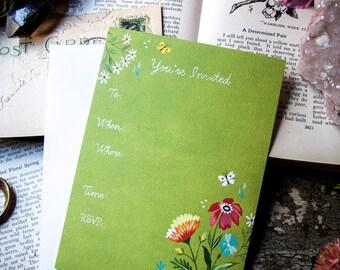 Green Wildflower Fill-in Invitations