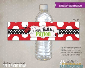 Red Ladybug Water Bottle Label Template, Custom Ladybug Girl's Birthday Party Decoration, Instant Download #B111