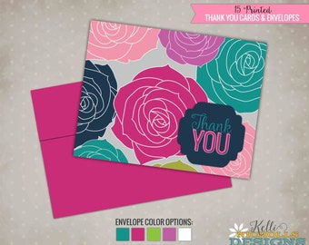 Bright Rose Bridal Shower Thank You Cards, Folding Wedding Shower Thank You Notes #S107