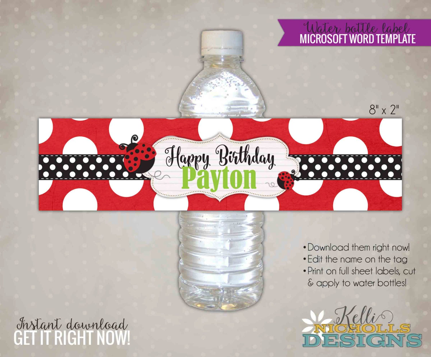 Red ladybug water bottle label template custom ladybug for Personalized water bottle label template
