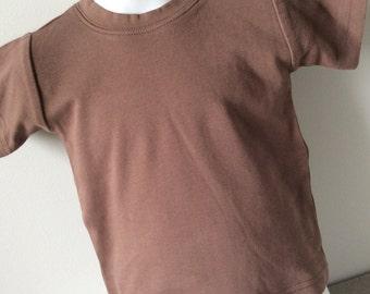 Plain blank short sleeve t-shirt made by Monag : brown