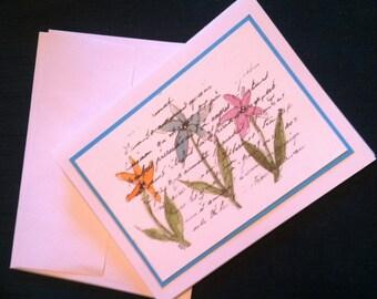 Notecards,Stationary,Watercolor,Flowers, Blank inside