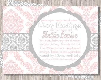 Baby Girl Shower Invite, Pink Gray Damask Shower Invitation  5x7 printable JPG
