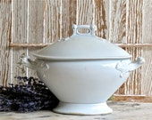 Vintage Lovely Antique English White Ironstone Footed Pedestal Covered Tureen